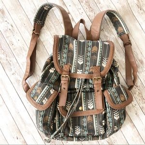 Mudd Boho Tribal Aztec Tan Mint Green Backpack